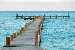 Long Wharf wood 2. Long Wharf wood wirh blue ocean background royalty free stock image