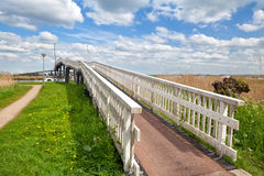 Long white bridge over river, Alkmaar Royalty Free Stock Images