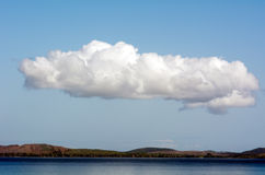 Long white cloud. Long white cloud above Karikari peninsula in Northland New Zealand Stock Photography