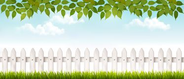 Long white fence banner with grass and fence. Stock Photography