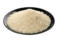 Long white rice on plate Royalty Free Stock Images