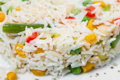 Long white rice with vegetables. Royalty Free Stock Photo