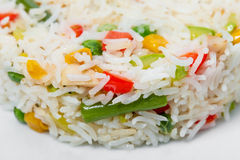 Long white rice with vegetables. Stock Image