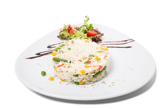 Long white rice with vegetables. Stock Photos