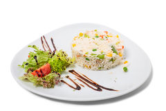 Long white rice with vegetables. Royalty Free Stock Photography