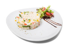 Long white rice with vegetables. Royalty Free Stock Image