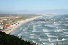 Long white sand beach near Muizenberg Stock Images