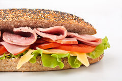 Long whole wheat baguette sandwich Royalty Free Stock Images