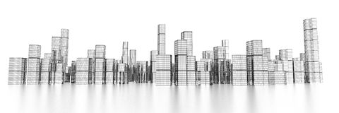 Long wide modern skyline Royalty Free Stock Images