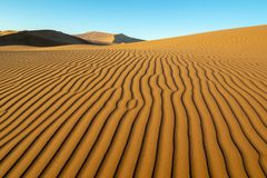 Long wind formed ripples with shadow defined edges in dunes of H. Idden Vlei, Sossusvlie Namibia royalty free stock images