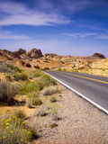 Long winding road through Valley of Fire State Park Stock Images