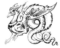 Long winged dragon. Cute fluffy dragon curled up with rings stock illustration