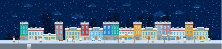 Long Winter City Street Stock Photo