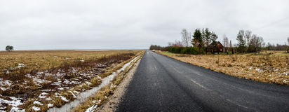 Long winter road Stock Photography