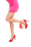 Long woman leg with red panties Stock Photography