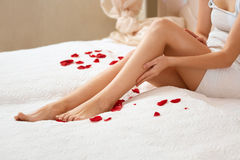 Long Woman Legs. Beautiful Woman Cares About Legs. Depilation.  Royalty Free Stock Photos