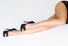 Long woman legs and fashion black heels Royalty Free Stock Photo