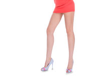 Long woman legs in high heeled shoes Royalty Free Stock Image