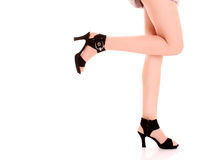 Long woman legs in high heels Royalty Free Stock Photography