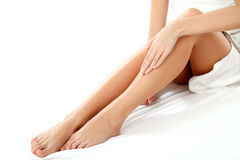 Long Woman Legs isolated on white. Epilation Royalty Free Stock Photography