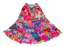 Long woman skirt made from pieces of colorful cloths Royalty Free Stock Photo