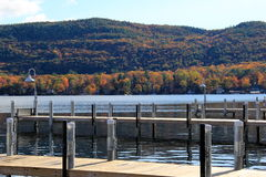 Long wood piers on calm lake Royalty Free Stock Photography