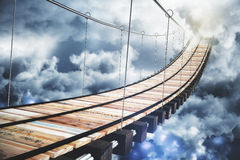 Long wood stairway to the sky with clouds. Close up Stock Photography