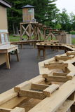 Long wood tables with running water where people can sift for gemstones,Howe Caverns,New York,2014 Stock Photography
