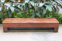 Long wooden bench Stock Image