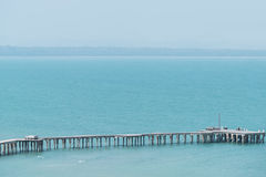 Long wooden bridge pavilion in beautiful tropical. Rayong Thailand royalty free stock photos