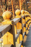 Long wooden bridge at Seoraksan Korea. Stock Photo
