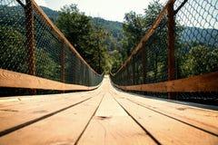 Long wooden bridge Stock Image