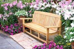 Long wooden chair Stock Photos