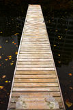 Long wooden dock. Steps down to long wooden dock over murky black water Royalty Free Stock Photography