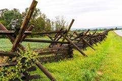 Long Wooden Fence on a Civil War Battlefield stock photos