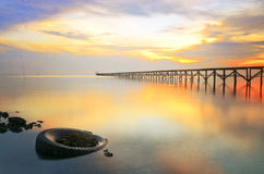 Long wooden jetty Royalty Free Stock Images