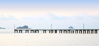 Long wooden pier port Royalty Free Stock Image