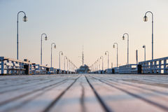 The long wooden pier Royalty Free Stock Images