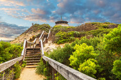 Long wooden stairs leading up to The Coppins Lookout near Sorren. To Ocean Beach. Mornington Peninsula, Melbourne, Australia Royalty Free Stock Images