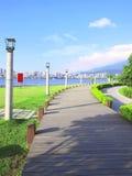 Long wooden walkway Stock Images
