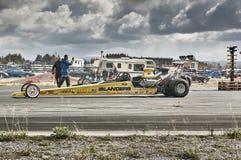 Long yellow car racing Stock Photo
