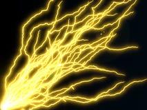 Long yellow electric arcs. 3d illustration Royalty Free Stock Image