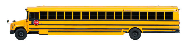 Long Yellow School Bus Banner Isolated on White. Back to school! Yellow school bus isolated on white. Vehicle is edited to be a very long banner type image stock images