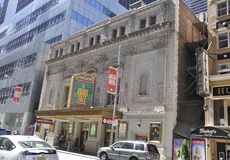 New York City, 2nd July: Longacre Theatre building in Midtown Manhattan from New York City in United States Royalty Free Stock Photo