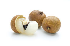 Longan. Three longan on a white background Royalty Free Stock Images