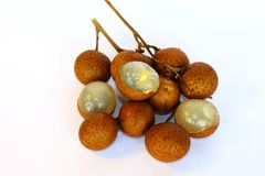 Bunch of longan with some were peeled stock photo