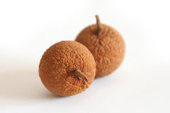 Longan fruits. Two longan fruits on white background, focus on front one, shallow DOF Stock Image