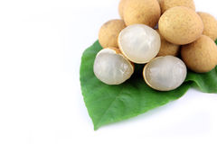 Longan on the green Leaves. Royalty Free Stock Photos