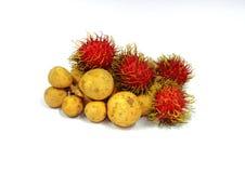Longan and rambutan fruit form Thailand Stock Photos