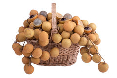 Longan in the shopping basket Royalty Free Stock Photos